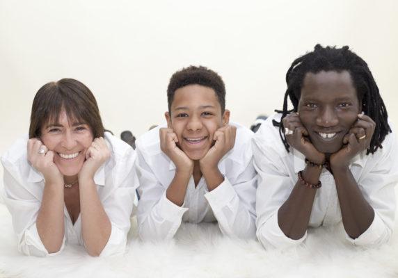 Trio famille joie photographe